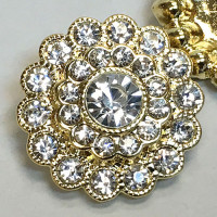 C-1140- Gold and Crystal Rhinestone Button