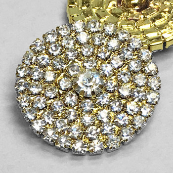 C-1171- Gold and Crystal Rhinestone Button