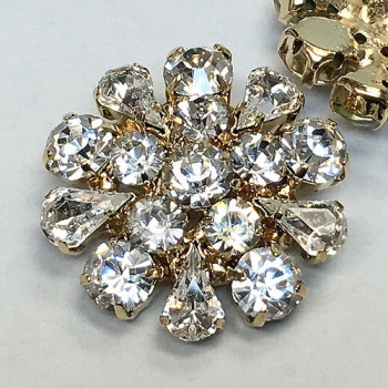 C-1179- Gold and Crystal Rhinestone Button
