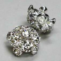 C-1335-Small Crystal Rhinestone Button (Sterling Silver-Plated Base) - 2 Sizes