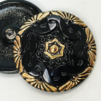 G-3920 Large Gold and Black Glass Button