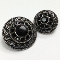 KMR-442 Antique Silver with Black Jet Stones, 2 Sizes