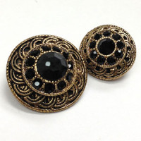 KMR-443 Antique Gold with Black Jet Stones, in 2 Sizes