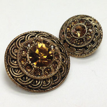 KMR-447 Antique Gold with Smoke Topaz Stones, 2 Sizes