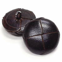L-1390 Dark Antique Brown Leather Coat Button