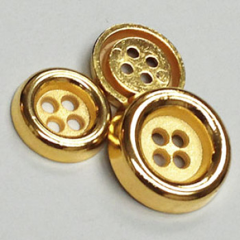 M-055-Gold Metal Fashion Button, 2 Sizes
