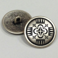 M-1110  Concho Style Antique Silver Metal Button - 2 Sizes