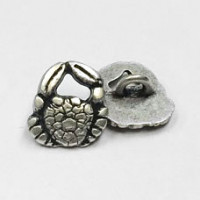 M-1310-Antique Silver Crab Button