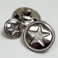 M-152 Star Design Metal Button, 2 Sizes