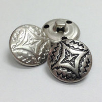 M-180 Western Metal Button in Matte or Antique Silver