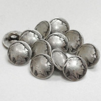 "M-185A-D Indian Head Metal Shirt Button  7/16"" - Priced Per Dozen"