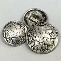 M-187-Indian Head Metal Button - 2 Sizes