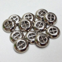 M-1901-D  Silver Metal Shirt Button - Priced per Dozen