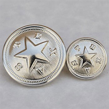 M-1921-Silver Texas State Seal Button, 2 Sizes