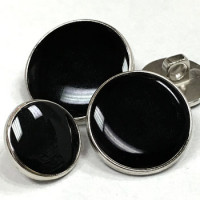 M-292-Silver with Black Epoxy Blazer Button - 3 Sizes