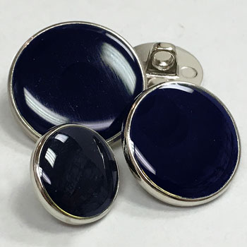 M-295-Silver with Dark Navy Epoxy Blazer Button - 3 Sizes