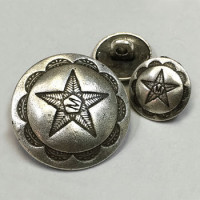 M-7720 - Antique Silver Metal Button - 2 Sizes
