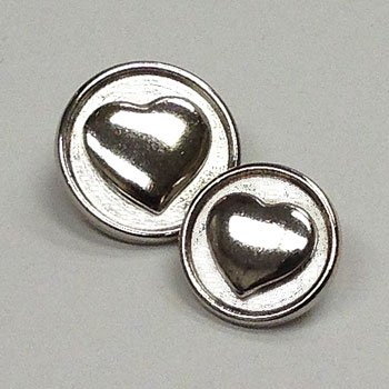 M-7824-Metal Heart Button, 2 Sizes