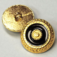 M-7920 Gold and Black Epoxy Metal Button