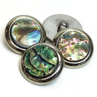 MAS-1500 - Silver Metal with Abalone Button