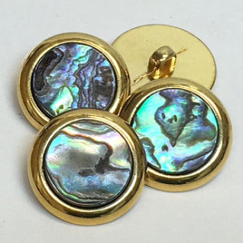 MAS-1555 - Gold Metal Button with Abalone