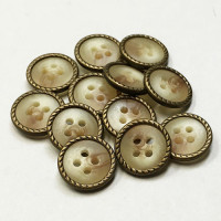 MTP-40-D Tan and Antique Brass Shirt Button, Sold by the Dozen