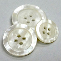P-0395-White Pearly Fashion Button, 3 Sizes