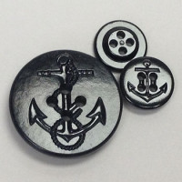 PCB-50-US Navy Black Pea Coat  Button - 2 Sizes