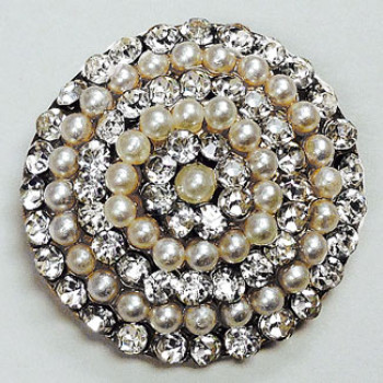 RHP-588 - Large Rhinestone and Pearl Button