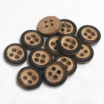 WD-101-D Burnt Wood Shirt Button, Priced by the Dozen