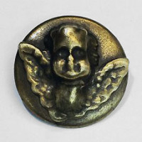 M-7906  Antique Brass Metal Cherub Button