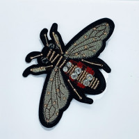 BFXU-91 Large Rhinestone and Beaded Bee Applique, Sold Per Piece or Set of 3