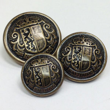 29611 Antique Brass Salzburg Crest Button, in 3 Sizes