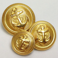 80044 Gold Anchor Blazer Button - 3 sizes