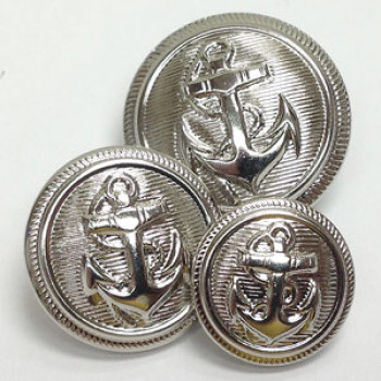 80045 Silver Anchor Blazer Button, 3 Sizes