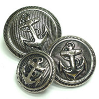 80046 Antique Silver Anchor Button, 3 Sizes