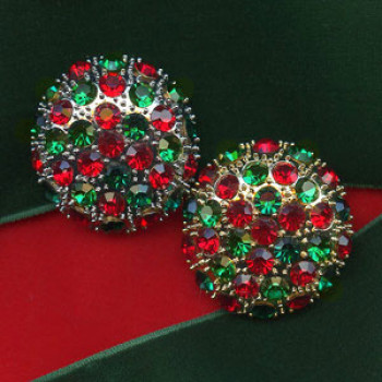 9182-XMAS  Large Gold or Silver Base - Green and Red Stones