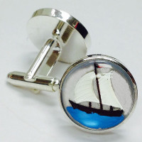 CF-155  Handpainted Glass Cufflinks