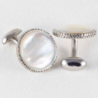 CFS-000  White MOP Cufflinks