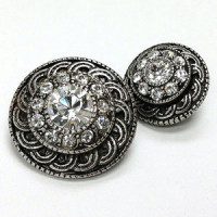 KMR-440  Antique Silver with Swarovski Stones, 2 Sizes