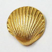 M-1307-Gold Metal Seashell Button