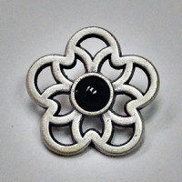 M-3161-Matte Antique Silver and Black Button