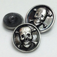 M-6216-Metal Skull and Crossbones Button, in 3 Sizes