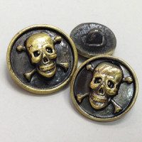 M-6217-Metal Skull and Crossbones Button, in 3 Sizes