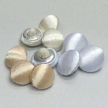 W-1035TB-Satin Bridal Button with Tufted Back - 3 Colors, Priced by the Dozen