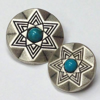 M-3185-Matte Antique Silver and Turquoise Button, 2 Sizes