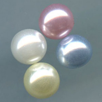 W-6511-Wire Shank Half Ball Pearl  in 5 Sizes, 4 Colors - Priced Per Dozen