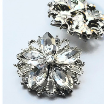 C-8182 -  Silver and Crystal Rhinestone Button 7/8""