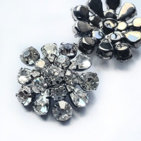 C-8183 -  Silver and Crystal Rhinestone Button 1inch