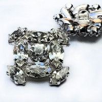C-8185 -  Set of 11 Silver and Crystal Rhinestone Button 13/16""
